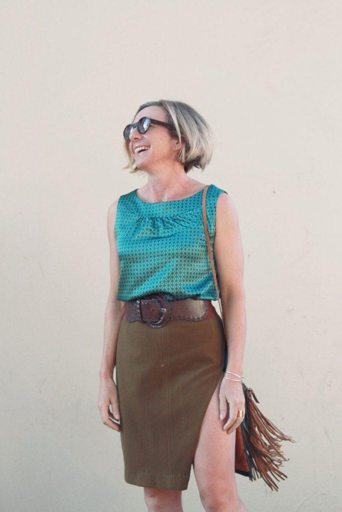 refashioned upcycled coat skirt